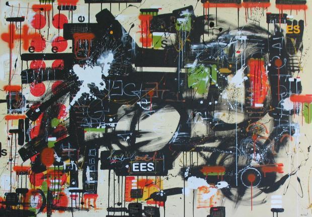 love 44 (150cmx116cm, acrilico, spray, matita su tela, 2011, coll. privata)