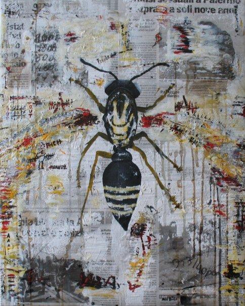 v #8 (40x50 acrilico,matita temperata caffe xarta di giornale su tela)