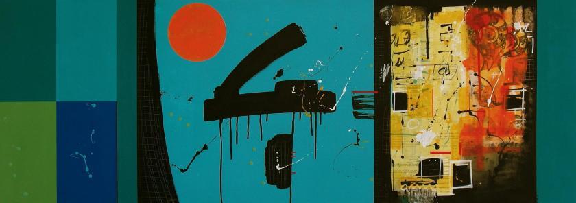 composizione, sinestesia in la# (140cmx50cm, acrilico, carta, spray su tela, 2013, collezione privata)