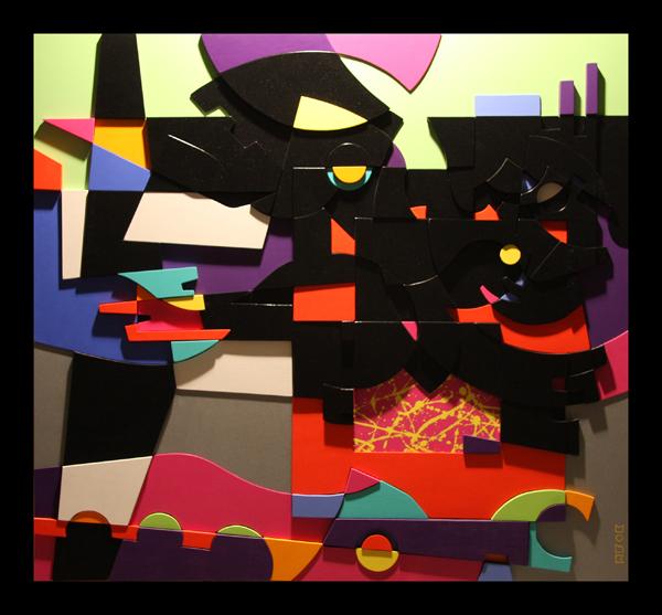 BYE BYE BLACKBIRD (acrilico su legno intarsiato a rilievo cm110x120)