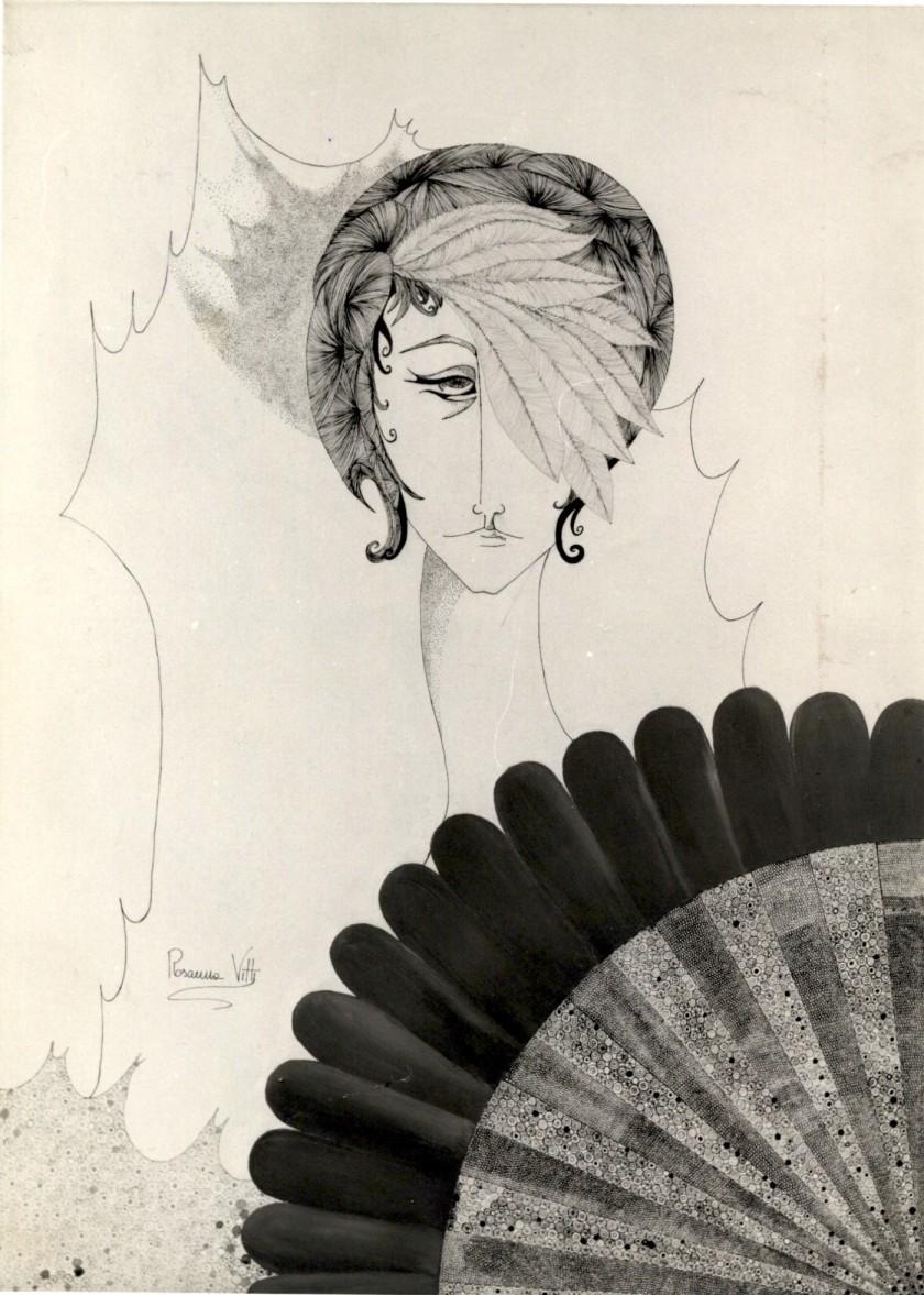 Donna con Ventaglio- Woman with Fan - Olio su tela con Imprimitura- Oil on canvas with Primer (100x80 cm.)