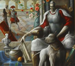 """Pilate and his dog Banga"" 90x100 cm oil on canvas Private collection"