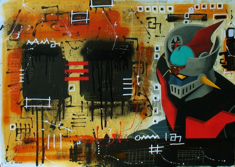 senza titolo (acrilico, matita, pastello, spray, carta su legno, 2013)