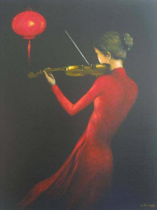 The woman who plays the violin