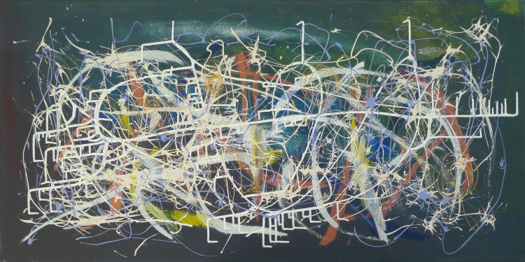 "Manuel Barata ""COSMOS I - UPPER SPACE GARDENS - US VIII""  Mixed media on canvas 100 x 50 cm)-2012"