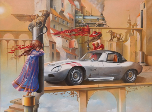 Oleg Osipoff -Mysterious Awakening of a Jaguar in Yellow Town - Oil on canvas - (60x80 cm.) -All right reserved-