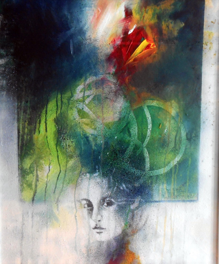 Luciano Maroncelli - Nei miei pensieri -Tecnica mista su tavola- In my Thoughts-Mixed media on board-(50cm x 60cm)