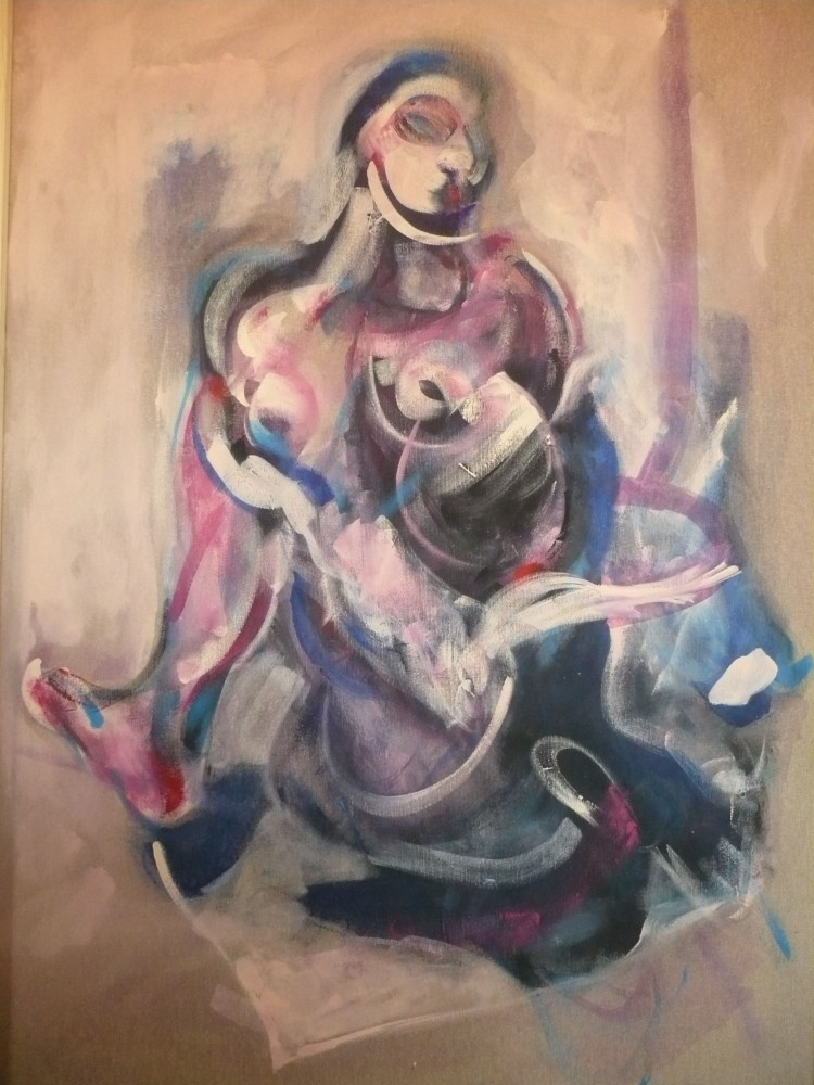 Vaclav Pisvejc -Donna con Colomba- Olio su tela- Woman with Dove-Oil on canvas (110x90x3cm.) All rights reserved