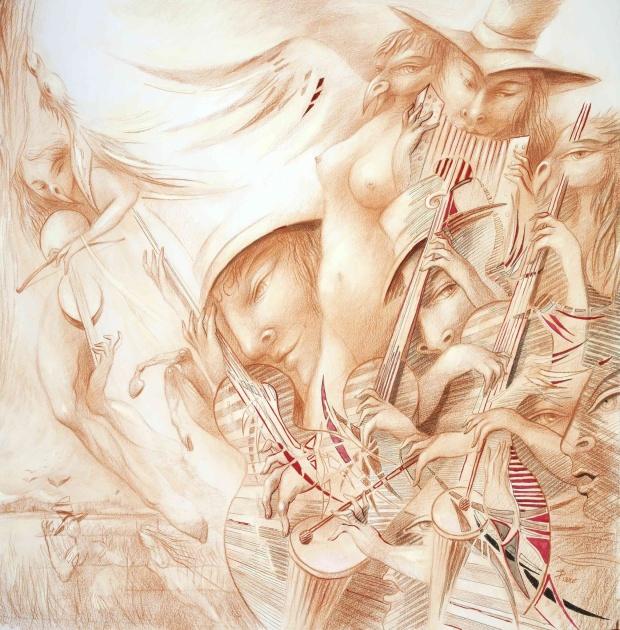 """Pierre Queloz- """"Comme les rêves sont réels…"""" Couverture livre-CD Sanguine, encre et acrylique sur papier 2014. 60-60 cm Tous droits réservés à Pierre Queloz CH"""