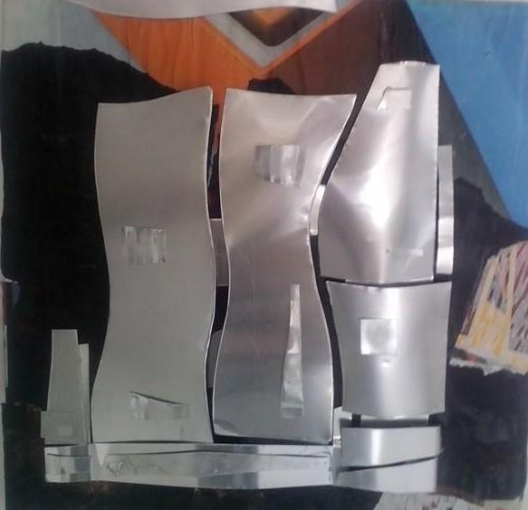 Uberto Lunedei-Modelli Archetettonici n.°3 -Tecnica mista con lamine di alluminio su tavola (45×45 cm.)