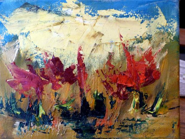 Riccardo Cerise-Papaveri- Olio su tela- Poppies- Oil on canvas (60x90 cm.)