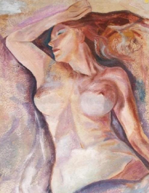 Delia Saba - Tra Sogno e Realtà- Olio su carta telata-Between Dream and Reality- Oil on canvas card ( 100x 80 cm.)