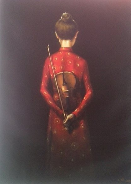 Bui Hui Quang - Donna con Violino- Olio su tela- Woman with Violin- Oil on Canvas (100x80 cm.)