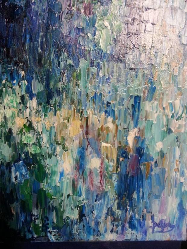 Delia Saba- Arlantide - Tecnica miista su tela- Mixed media on canvas- (70x40 cm.)