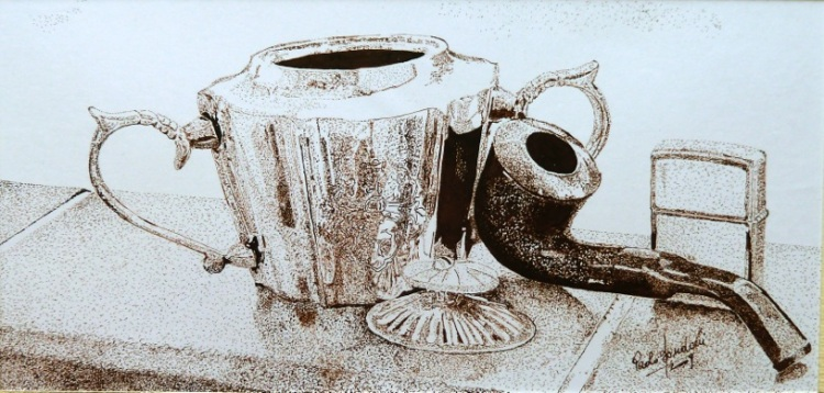 Paolo Bondoni- MAIGRET- PUNTINISMO INCHIOSTRO SU CARTA – Pointillism-Ink on paper(20 x 13cm)