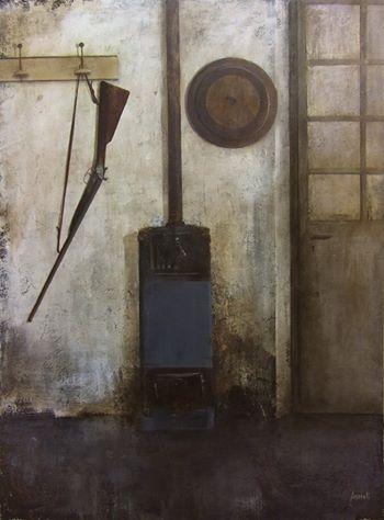 Andrea Mazzoli- I miei ricordi - l'Officina di Papà -. Tecnica mista su Masonite- My Memories: The Workshop of Dad- Mixed Media on Table-  (115x85cm)