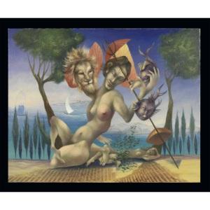 Pierre Quelox - expectative -huole sur toile - ( 80x100 cm.)