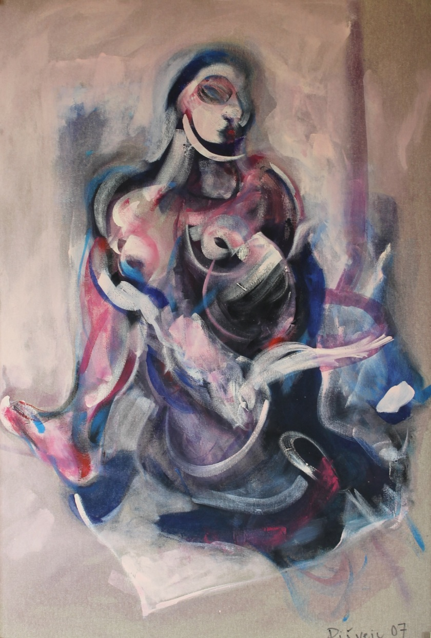 donna con colomba 100x70 acrilic on canvas