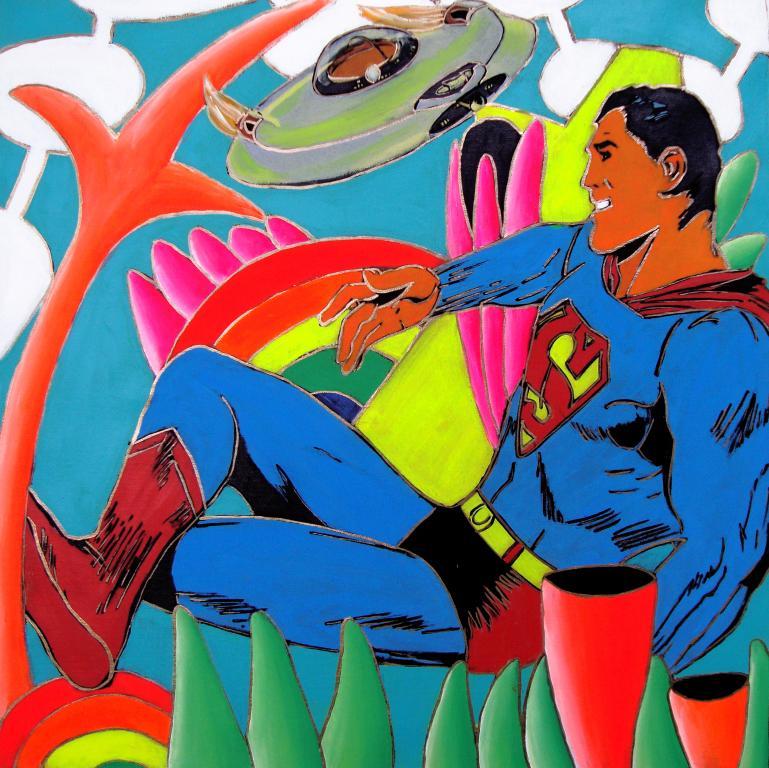 021-Giancarlo Montuschi- 021 Superman - Juta canvas - (100x100 cm.)